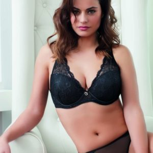 sujetador lencero push-up copa B color negro