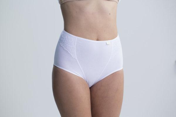 braga encaje alta de algodón puntilla sobrepuesta lateral. Color blanco