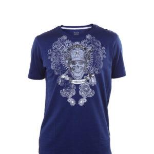 camiseta con calaveras de color azul marino. Manga corta