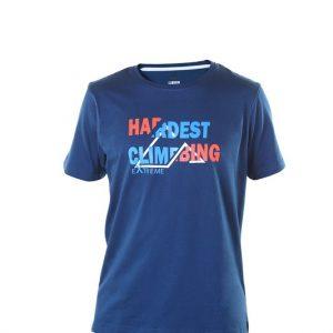 camiseta manga corta hombre azul con letras reflectantes.