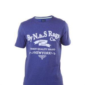 Camiseta hombre manga corta azul con letras