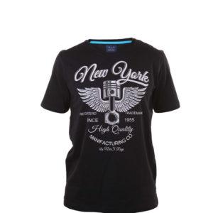 camiseta chico manga corta negra con letras blancas.