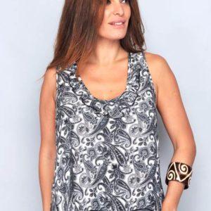 camiseta mujer verano tirantes estampada . Gris y blanco