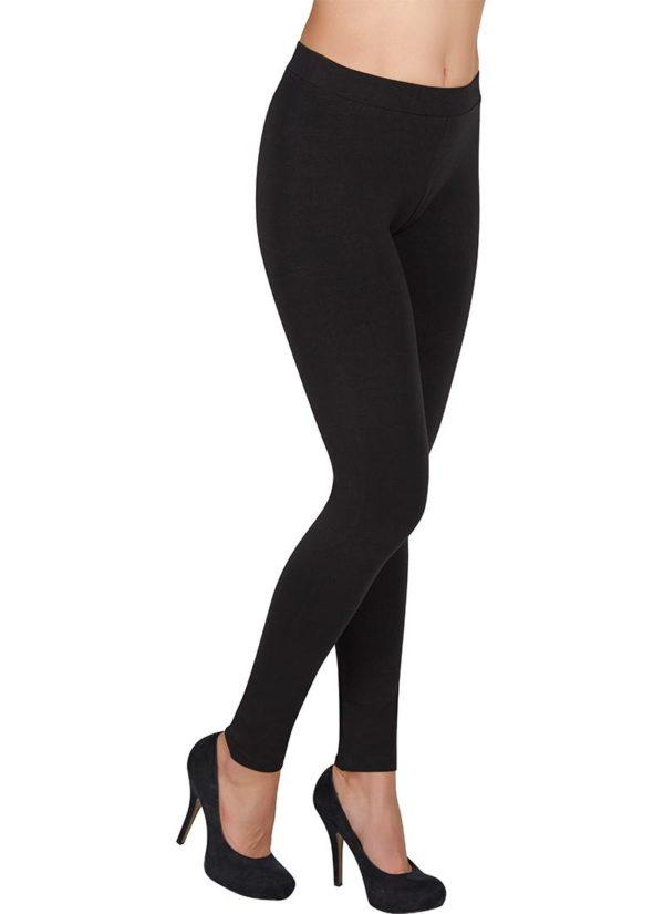 legging algodón con costuras laterales color negro