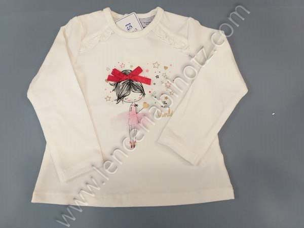 Camiseta niña bebe manga larga cruda. Botones traseros hasta abajo. Dibujo con detalles en relieve