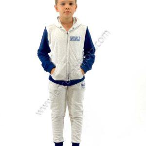 chandal niño con puño en el pantalon y chaqueta. Sudadera con cremallera y capucha. Gris con mangas azules. Pantalon liso
