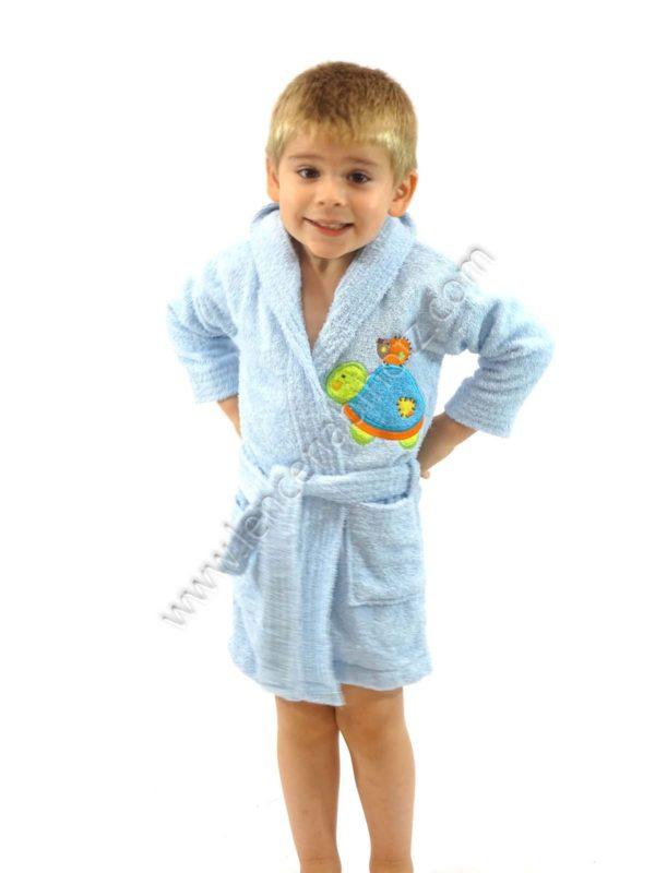 albornoz niño celeste con capucha y bolsillos