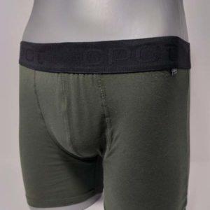 boxer goma a la vista. Color liso con goma en tono negro. Verde kaki.