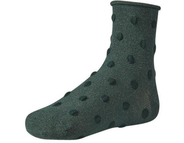 calcetín mujer puño brillo verde botella