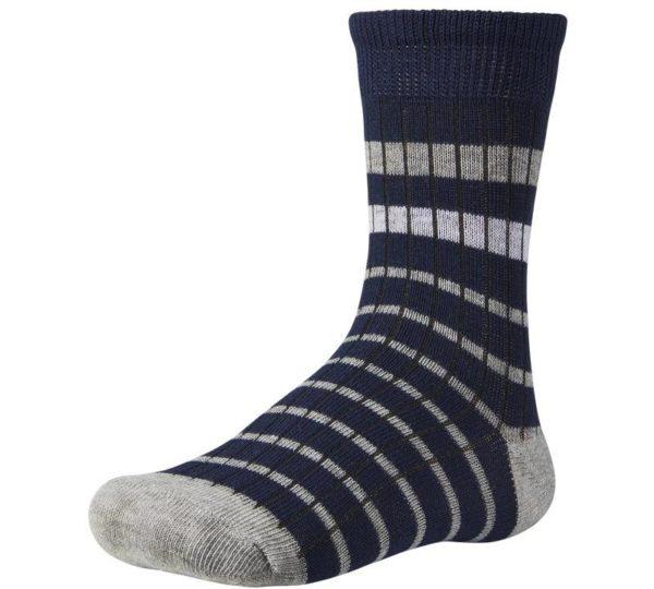 calcetín niño fondo marino con talón y puntera color gris. Rayas horizontales grises