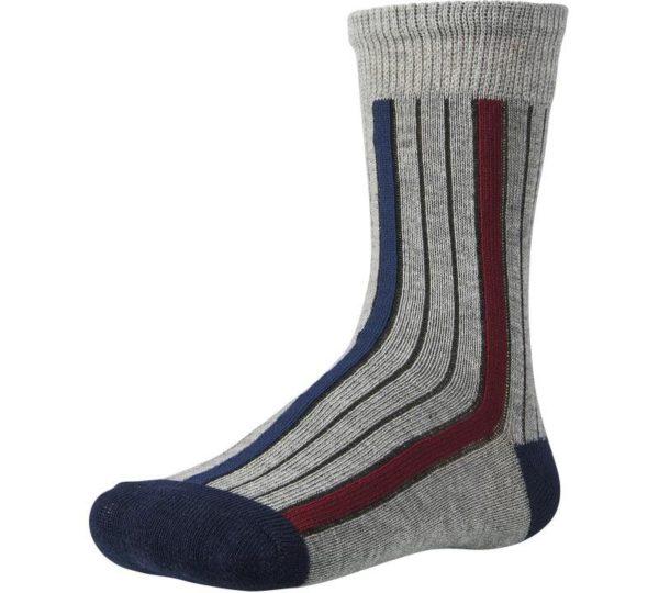 calcetín niño fantasía rayas verticales fondo gris. Puntera y talón marino