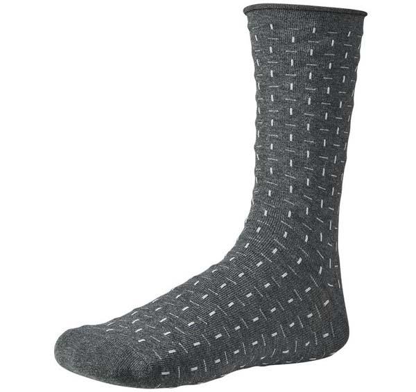 calcetin gris marengo con motas en blanco sin puño