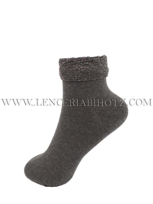 calcetin de mujer gris con doble puño. Puño exterior de fantasia
