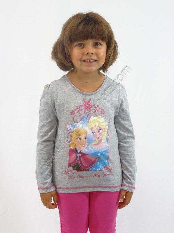 camiseta frozen manga larga para niña. Color gris jaspeado