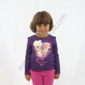 camiseta frozen manga larga para niña. Color berenjena