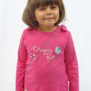 camiseta niña de manga larga fuxia estampado mariquitas