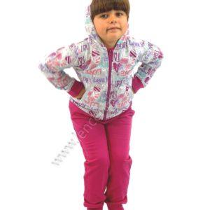 chandal para niña felpa interior con capucha. Chaqueta de cremallera. Color fuxia