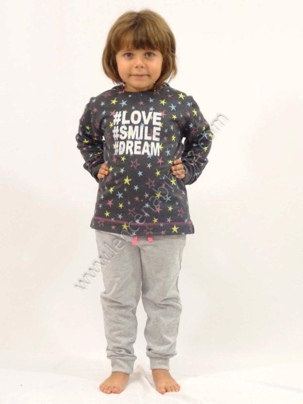 camiseta chandal niña con capucha gris con estrellas