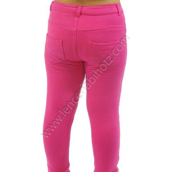 legging de algodon para niña con boton, bolsillos delanteros y traseros. Felpa interior. Color rosa fuxia