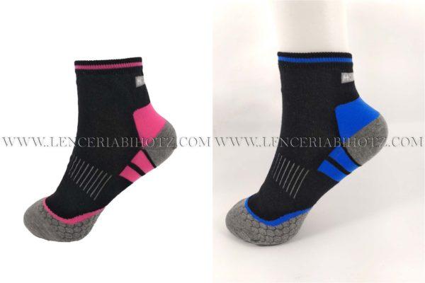 pack calcetines tobilleros de mujer fondo negro con detalles en azul y rosa. Punteras y talones en gris