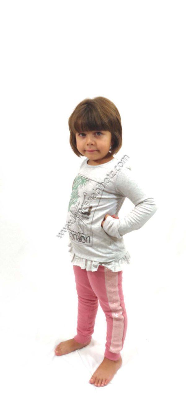 pantalon algodon niña rosa con lentejuelas en los laterales. Goma ancha y felpa interior