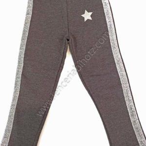 pantalon algodon niña con brillos en los laterales y una estrella. Color gris marengo