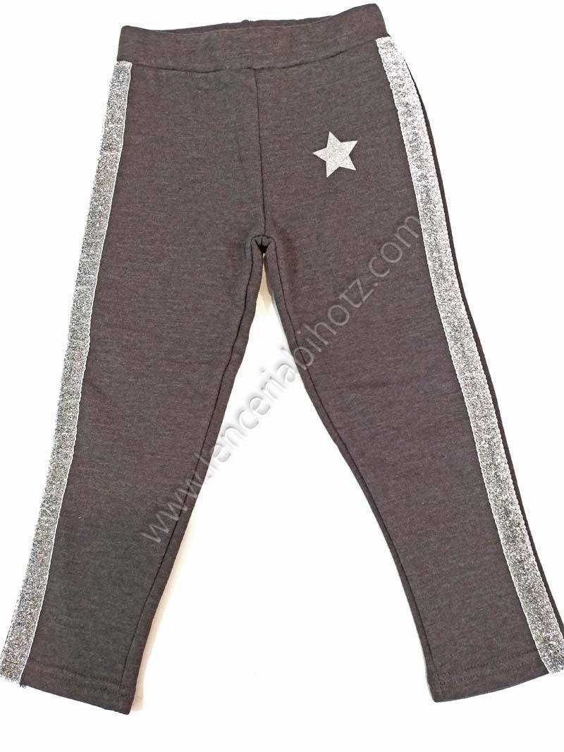 Pantalon Chandal Nina Brillos Algodon Con Felpa Interior