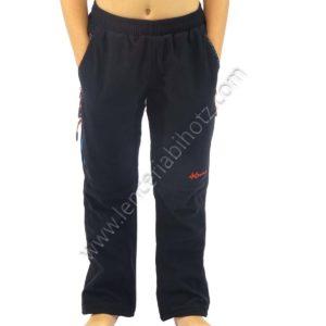 pantalon micropana negro bolsillos con cremallera y ajustable en el bajo. Petacho de color en la parte trasera.