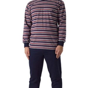 pijama hombre camiseta de rayas en rojo y marino con puño en el pantalón y mangas.