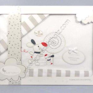 juego sabanas con original dibujo en gris
