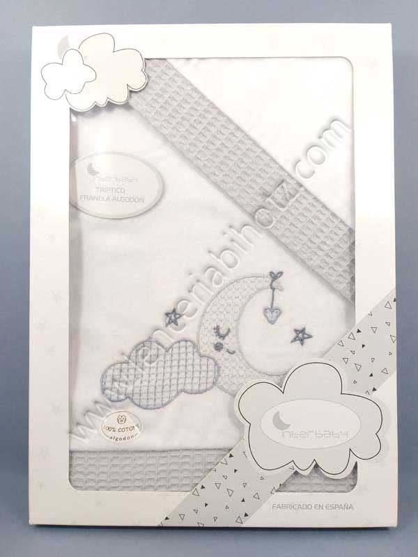 juego de sabanas de minicuna de franela de algodon. Color gris con remates del mismo color y bordado de luna y nube