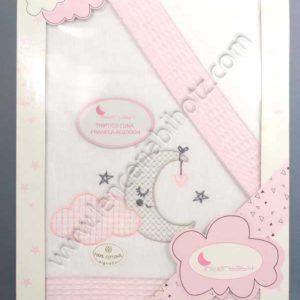 juego de sabanas de minicuna de franela de algodon. Color rosa con remates del mismo color y bordado de luna y nube