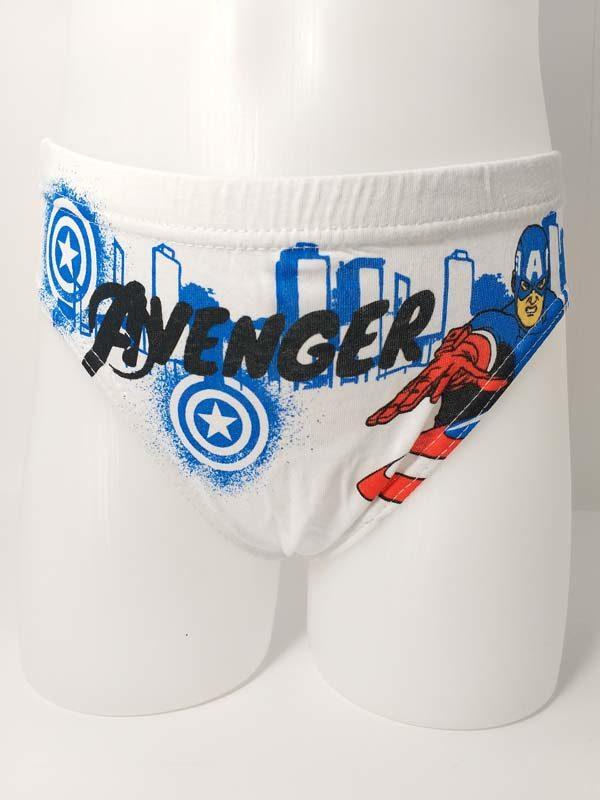 slip algodón niño fondo blanco. Estampado Capitán América en azul.