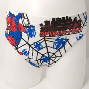 slip niño fondo blanco con estampado de Spiderman en tonos azules