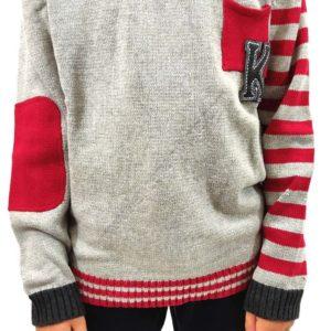 jersey para nño de punto que combina partes lisas y con rayas. Tonos grises con granates. Bolsillo