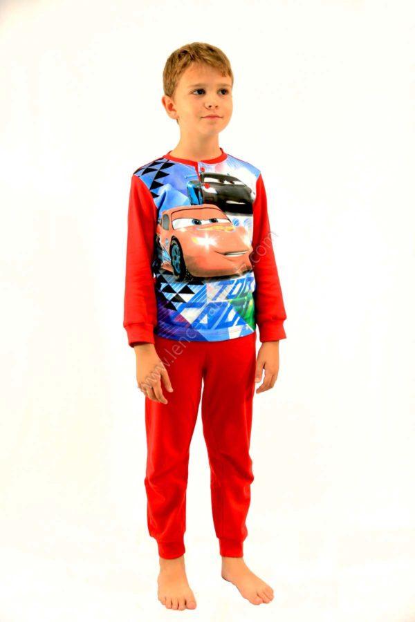 pijama para niño de disney de la pelicula de Cars. Pantalon rojo. Camiseta roja con estampado en el pecho de Rayo McQueen
