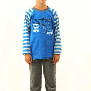 pijama para niño de terciopelo de algodón. Pantalón gris marengo de puño. Camiseta con mangas de rayas. Y dibujo en el centro de Snow board