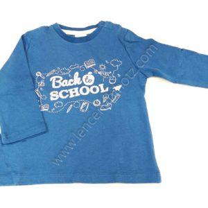 camiseta para bebe azulon cuello redondo y letras en el centro