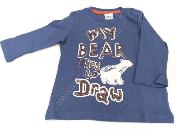 camiseta manga larga para bebe color azulon con dibujo de oso polar