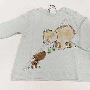 camiseta bebe celeste de manga larga cuello redondo con abertura