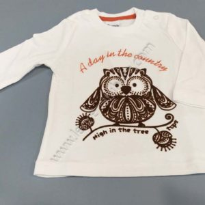 camiseta de bebe cruda manga larga con dibujo de terciopelo en forma de buho