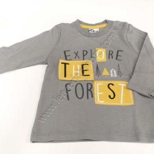 camiseta para bebe manga larga gris con letras de petachos