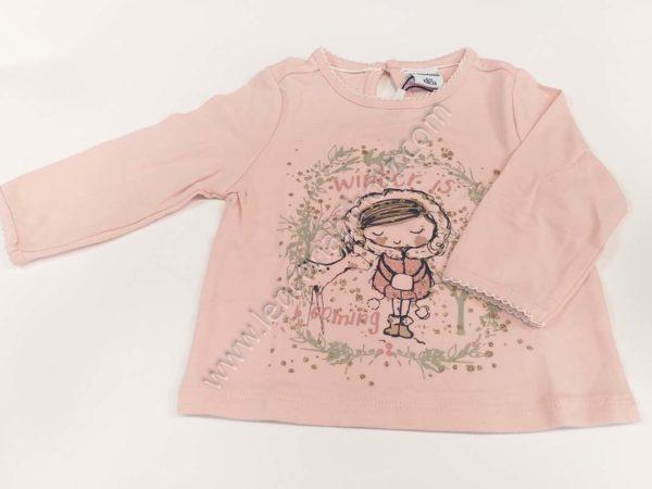 camiseta de bebe de manga larga rosa con dibujo de brillos