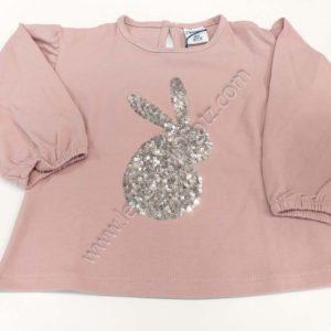 camiseta bebe rosa de manga larga con dibujo de conejo de lentejuelas
