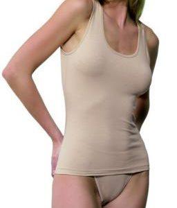 camiseta algodon de tirante ancho color piel