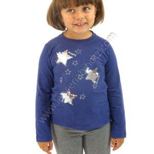 camiseta para niña de manga larga de color azul. Estrellas con lentejuelas reversibles que cambian de color.