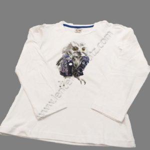 camiseta niña blanca manga larga dibujo en el centro de un buho