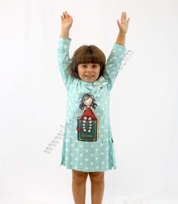 camison para niña de Santoro Gorjuss en verde aguamarina con lunares en blanco.