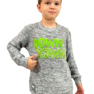 jersey niño punto gris con letras color pistacho