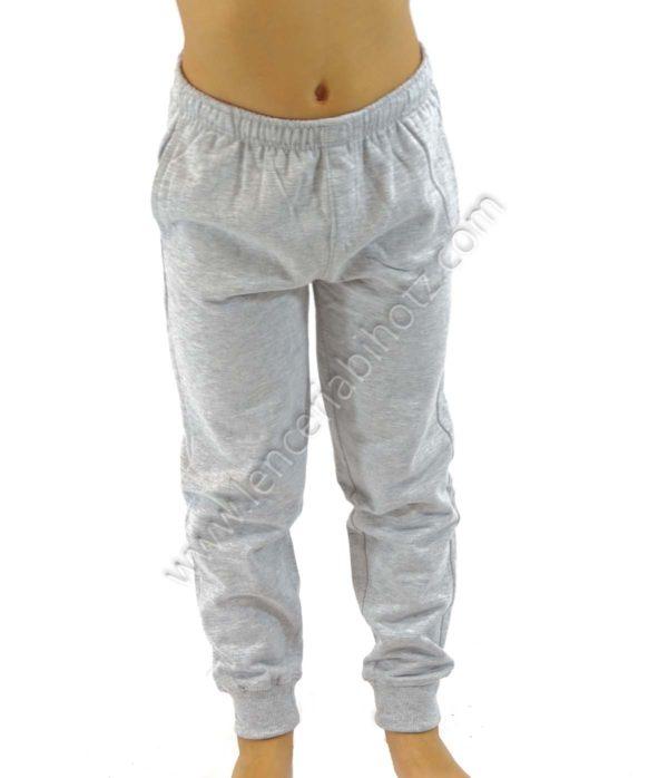 pantalón de algodón para niño bolsillos con puños de color gris jaspeado